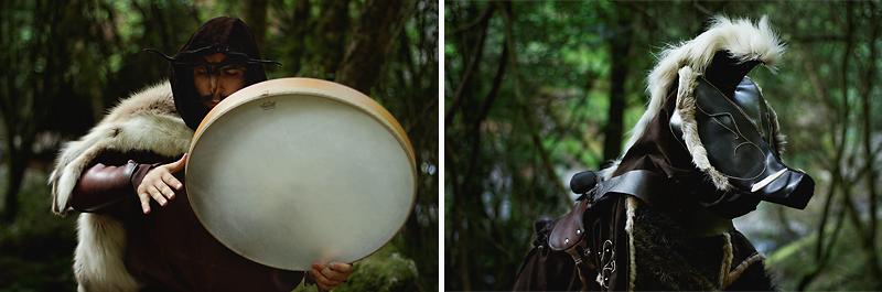 portrait d'artistes de rue en forêt