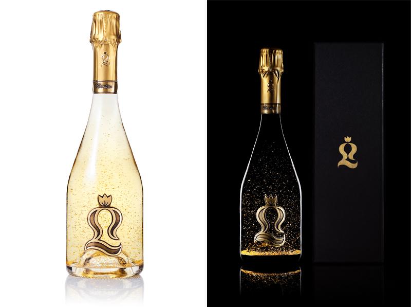 bouteille champagne paillettes or avec coffret fond noir fond blanc
